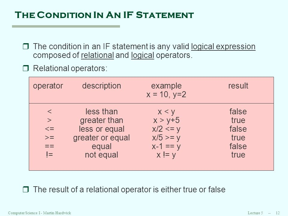 Lecture Computer Science I - Martin Hardwick The Condition In An IF Statement rThe condition in an IF statement is any valid logical expression composed of relational and logical operators.