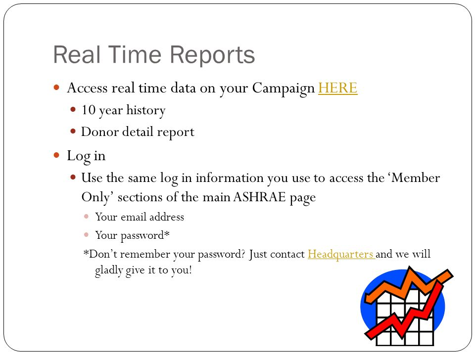 Real Time Reports Access real time data on your Campaign HEREHERE 10 year history Donor detail report Log in Use the same log in information you use to access the Member Only sections of the main ASHRAE page Your  address Your password* *Dont remember your password.