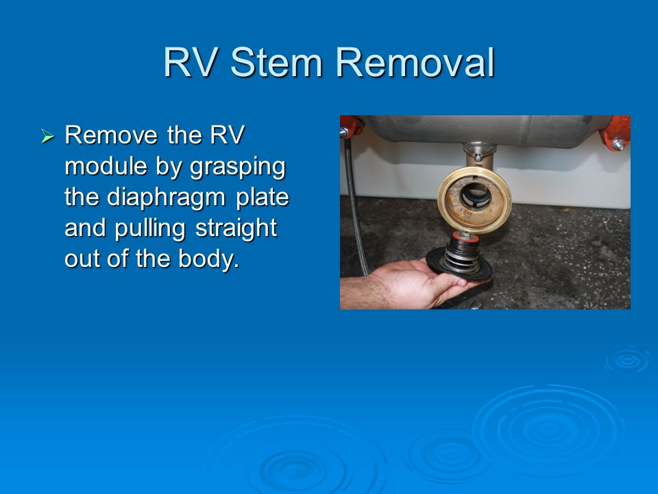 RV Stem Removal Remove the RV module by grasping the diaphragm plate and pulling straight out of the body.