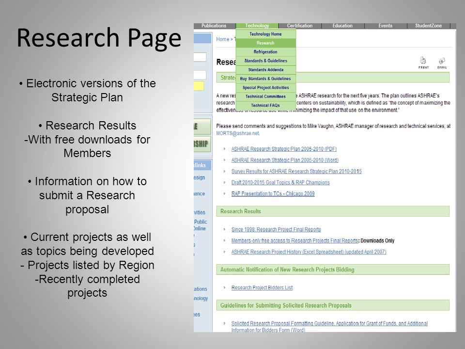 Research Page Electronic versions of the Strategic Plan Research Results -With free downloads for Members Information on how to submit a Research proposal Current projects as well as topics being developed - Projects listed by Region -Recently completed projects