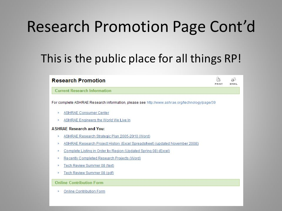 Research Promotion Page Contd This is the public place for all things RP!