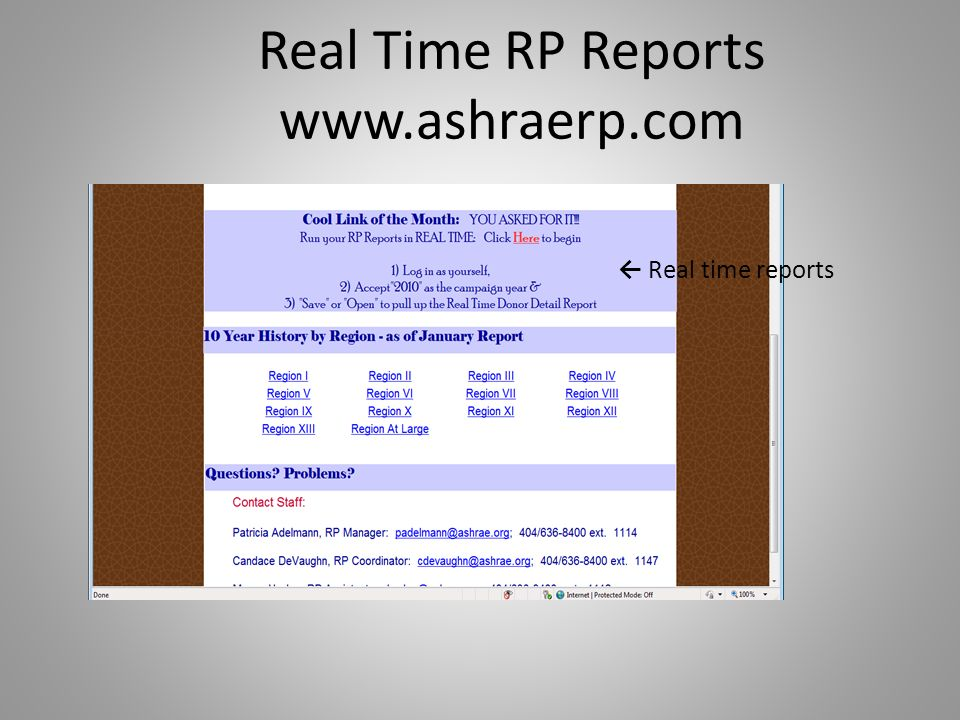 Real Time RP Reports   Real time reports