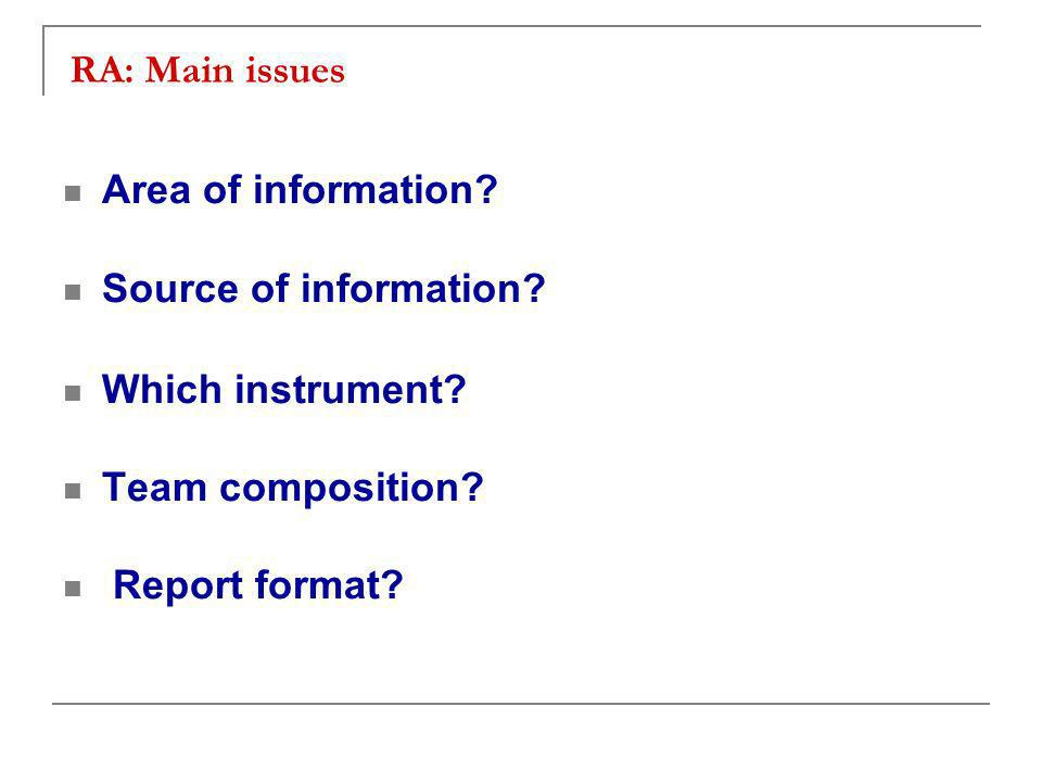 RA: Main issues Area of information. Source of information.