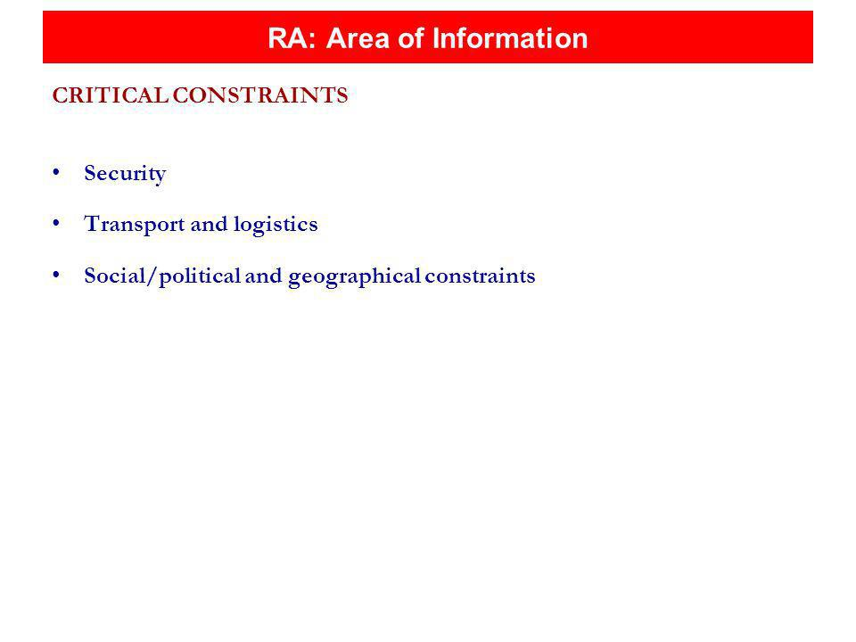 RA: Area of Information CRITICAL CONSTRAINTS Security Transport and logistics Social/political and geographical constraints