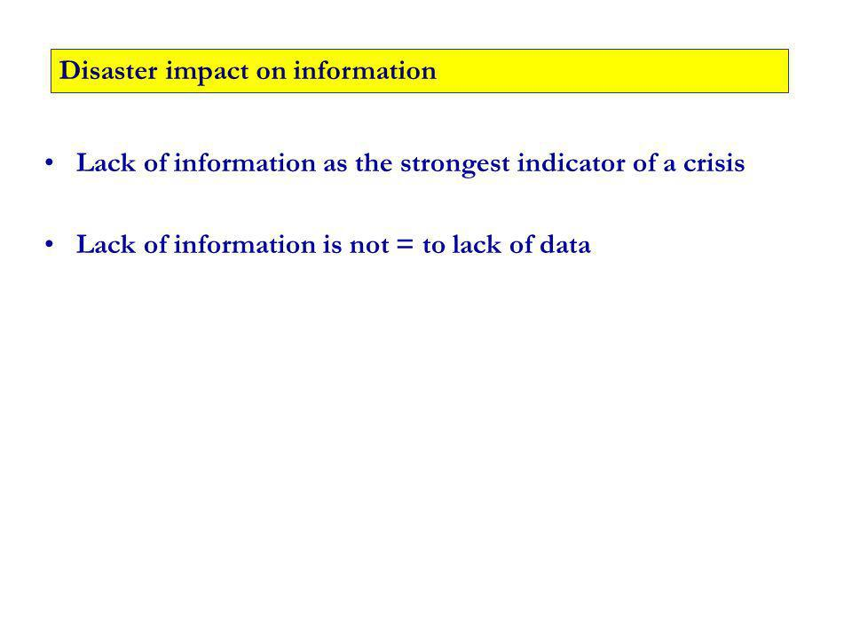 Lack of information as the strongest indicator of a crisis Lack of information is not = to lack of data Disaster impact on information