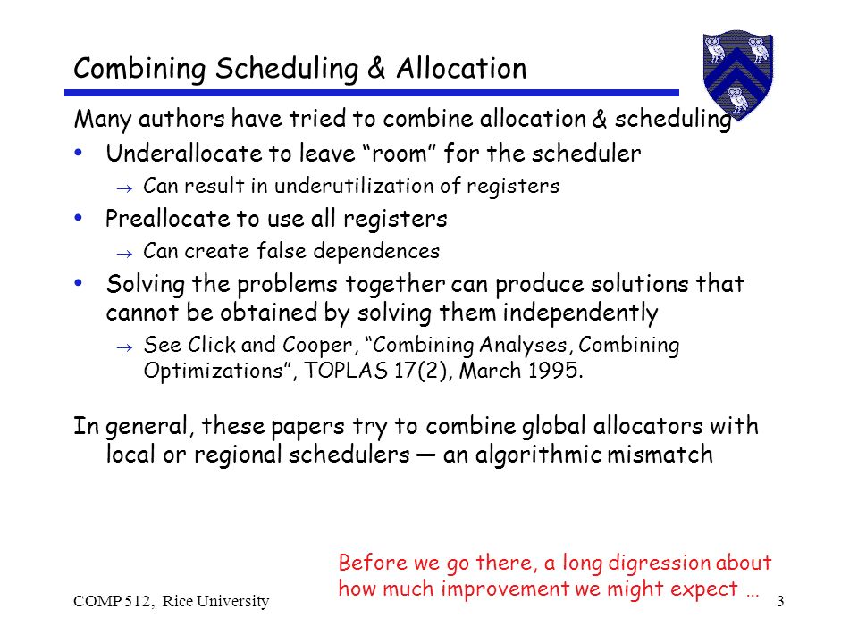 COMP 512, Rice University3 Many authors have tried to combine allocation & scheduling Underallocate to leave room for the scheduler Can result in underutilization of registers Preallocate to use all registers Can create false dependences Solving the problems together can produce solutions that cannot be obtained by solving them independently See Click and Cooper, Combining Analyses, Combining Optimizations, TOPLAS 17(2), March 1995.