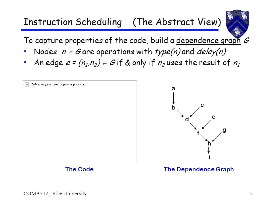 COMP 512, Rice University7 Instruction Scheduling (The Abstract View) To capture properties of the code, build a dependence graph G Nodes n G are operations with type(n) and delay(n) An edge e = (n 1,n 2 ) G if & only if n 2 uses the result of n 1 The Code a b c d e f g h i The Dependence Graph