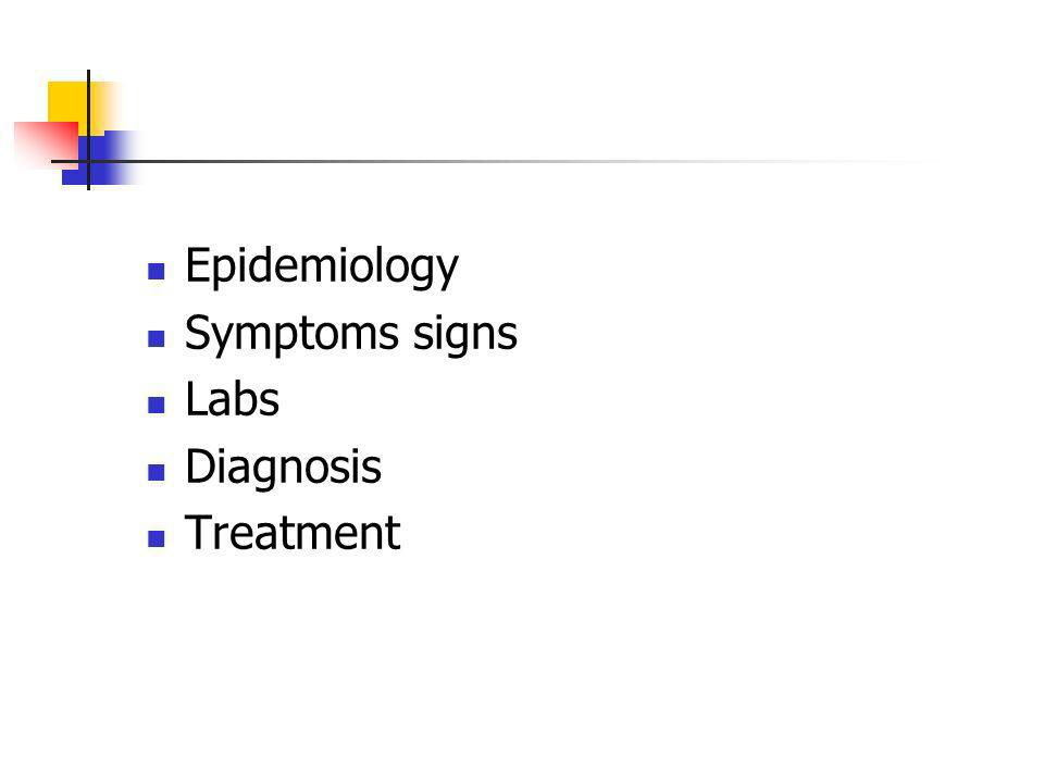Epidemiology Symptoms signs Labs Diagnosis Treatment