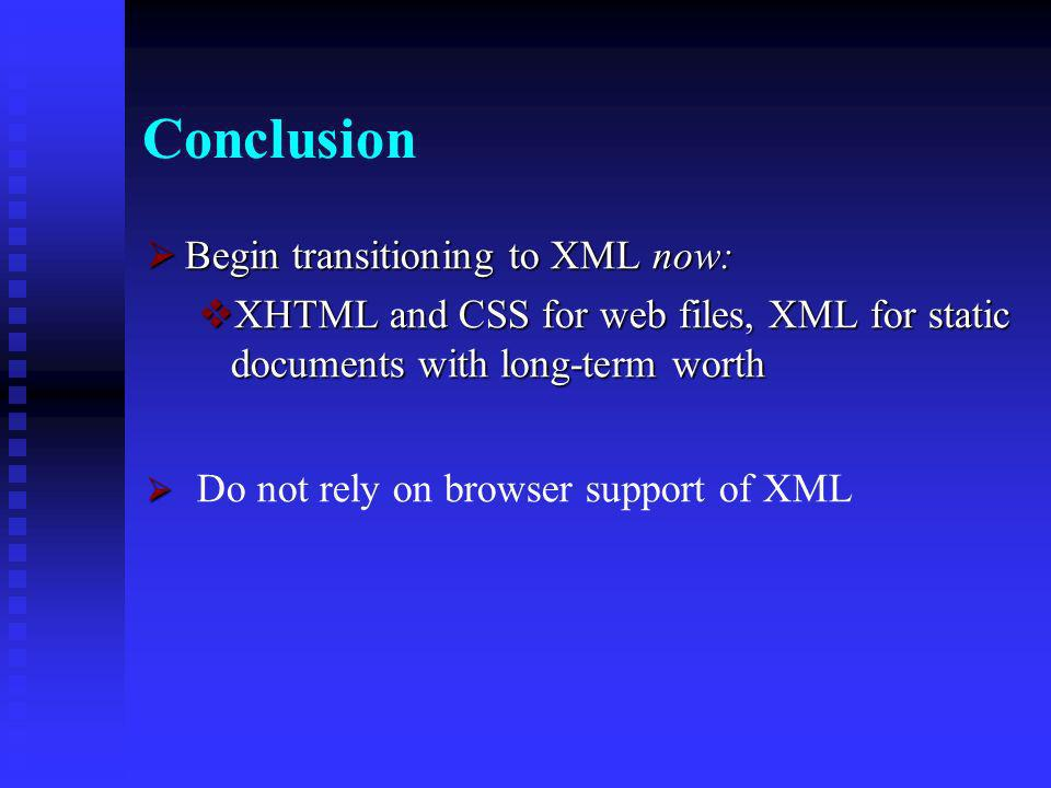 XML to XHTML on the Server Following is the ASP source code for transforming XML file to XHTML on the server: Following is the ASP source code for transforming XML file to XHTML on the server: <% <% Load XML Load XML set xml = Server.CreateObject( Microsoft.XMLDOM ) set xml = Server.CreateObject( Microsoft.XMLDOM ) xml.async = false xml.async = false xml.load(Server.MapPath( bookstore.xml )) xml.load(Server.MapPath( bookstore.xml )) Load XSL Load XSL set xsl = Server.CreateObject( Microsoft.XMLDOM ) set xsl = Server.CreateObject( Microsoft.XMLDOM ) xsl.async = false xsl.async = false xsl.load(Server.MapPath( bookstore.xsl )) xsl.load(Server.MapPath( bookstore.xsl )) Transform file Transform file Response.Write(xml.transformNode(xsl)) Response.Write(xml.transformNode(xsl)) %> %>
