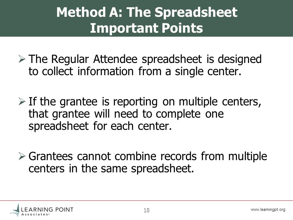 18 Method A: The Spreadsheet Important Points The Regular Attendee spreadsheet is designed to collect information from a single center.