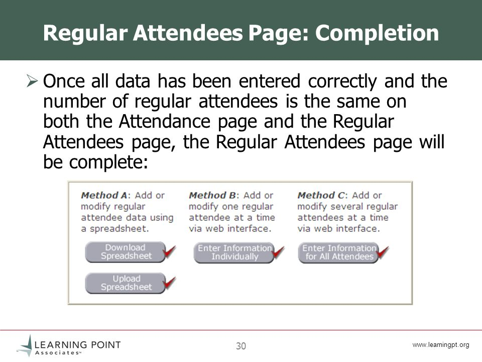 30 Regular Attendees Page: Completion Once all data has been entered correctly and the number of regular attendees is the same on both the Attendance page and the Regular Attendees page, the Regular Attendees page will be complete: