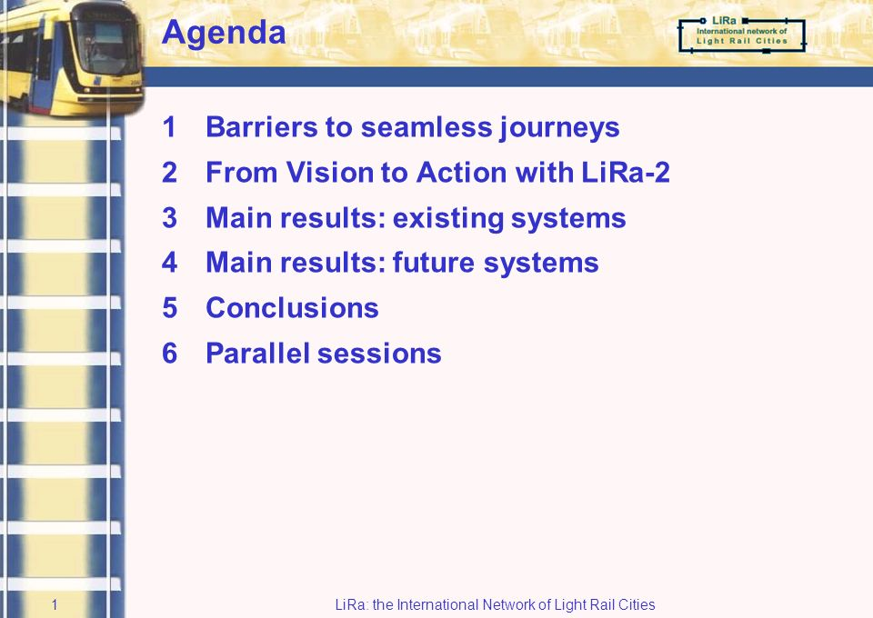 Final Conference 15 September 2005 LiRa-2: From Vision to Action René Buck President Buck Consultants International Initiator of LiRa network Museum of Science and Industry Manchester, UK