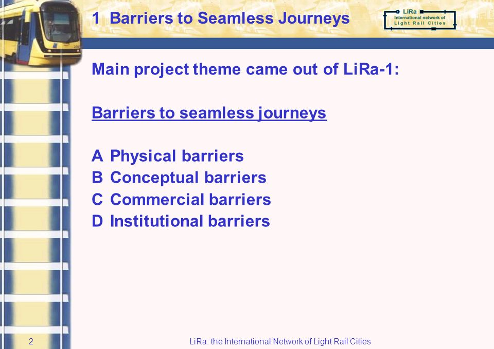 LiRa: the International Network of Light Rail Cities1 Agenda 1Barriers to seamless journeys 2From Vision to Action with LiRa-2 3Main results: existing systems 4Main results: future systems 5Conclusions 6Parallel sessions