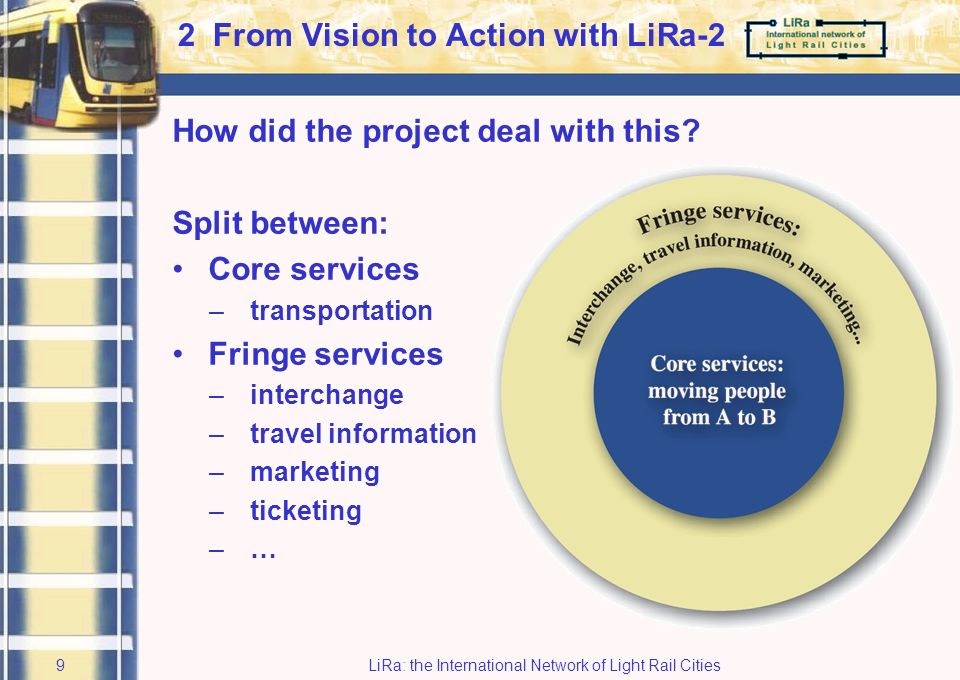 LiRa: the International Network of Light Rail Cities8 Barriers to Seamless Journeys (7) Central LiRa-2 project targets: 1To create concrete methods, procedures and tools, supporting –improvement –implementation of Quality Rapid Transit throughout Europe 2To be the driving force of active transnational transfer of knowledge through various channels