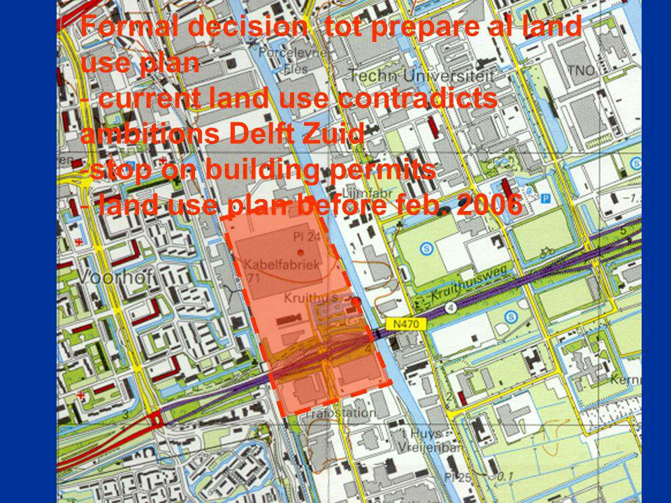 Formal decision tot prepare al land use plan - current land use contradicts ambitions Delft Zuid -stop on building permits - land use plan before feb.