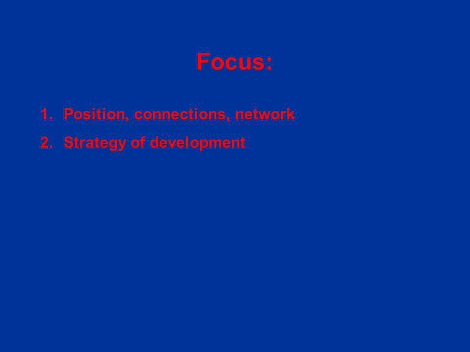 1.Position, connections, network 2.Strategy of development Focus: