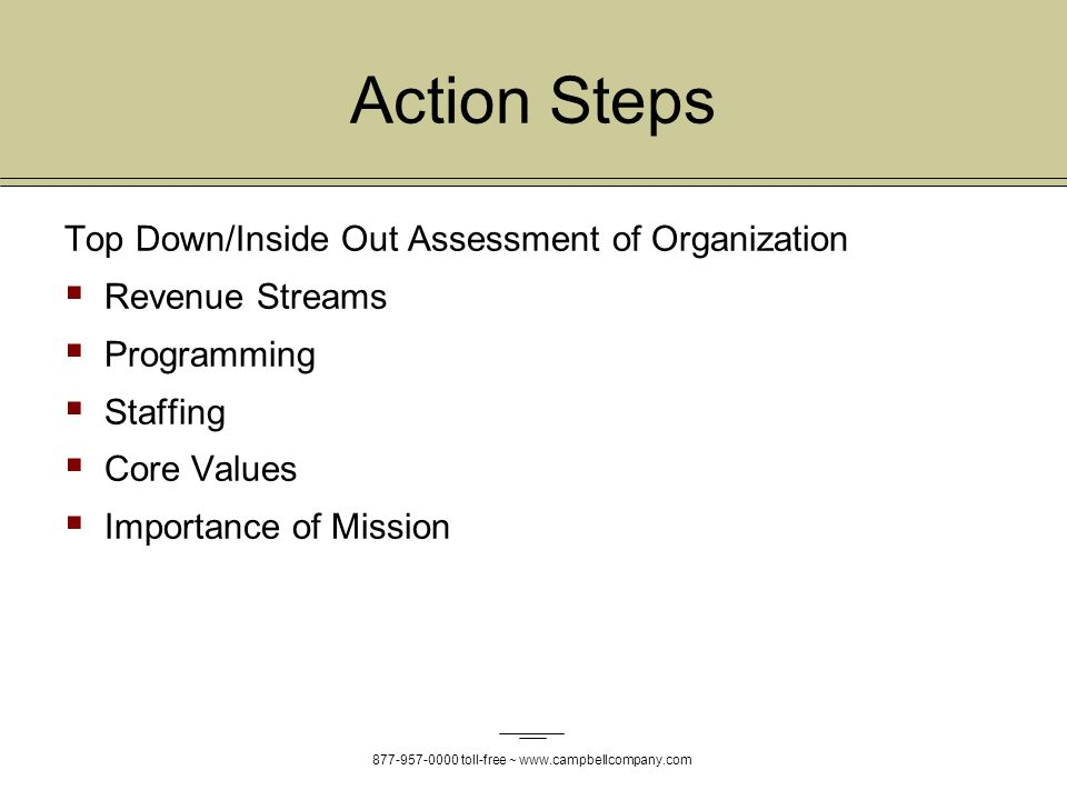 toll-free ~   Action Steps Top Down/Inside Out Assessment of Organization Revenue Streams Programming Staffing Core Values Importance of Mission