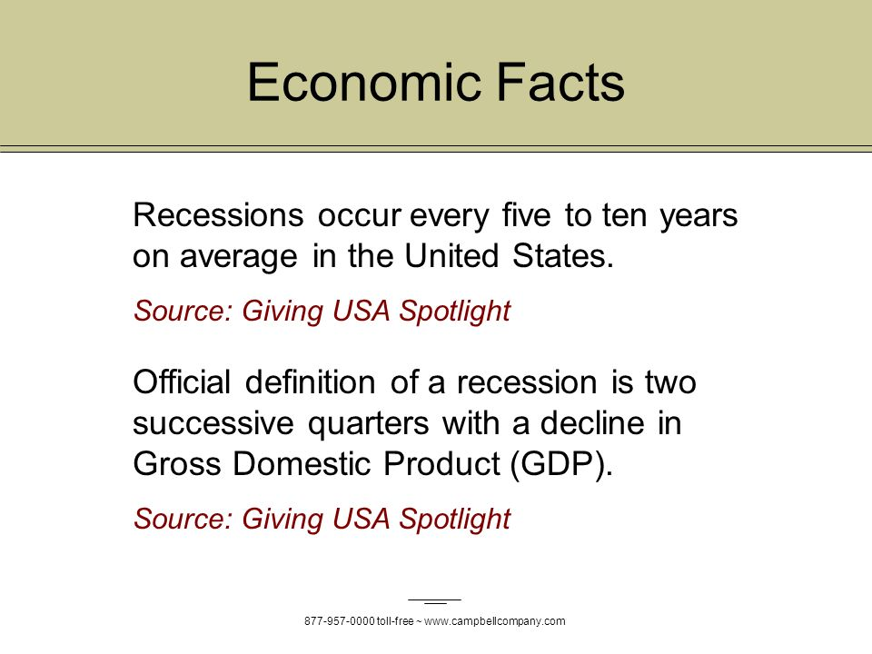 toll-free ~   Recessions occur every five to ten years on average in the United States.