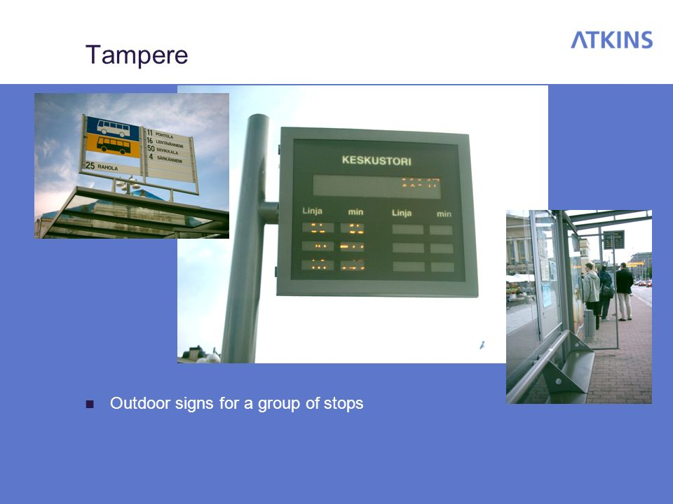 Tampere Outdoor signs for a group of stops