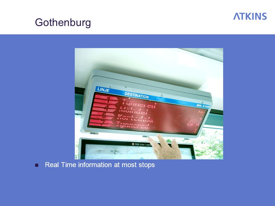 Gothenburg Real Time information at most stops