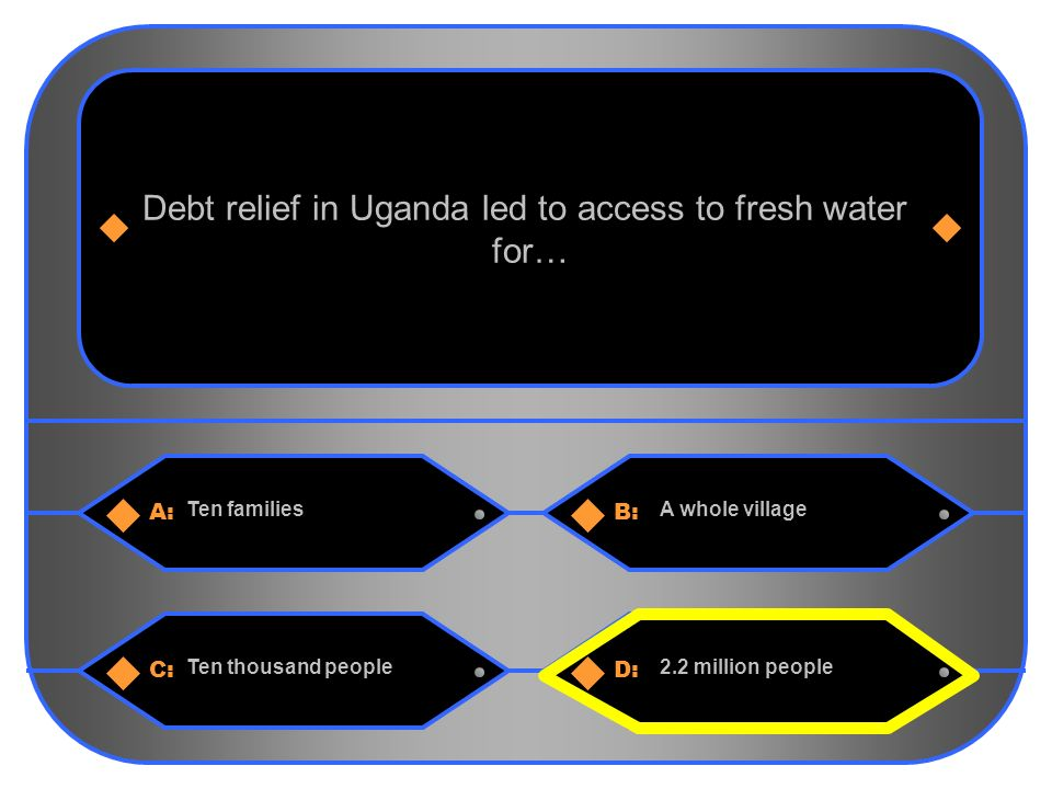 11 A:B: Ten familiesA whole village Debt relief in Uganda led to access to fresh water for… C:D: Ten thousand people2.2 million people