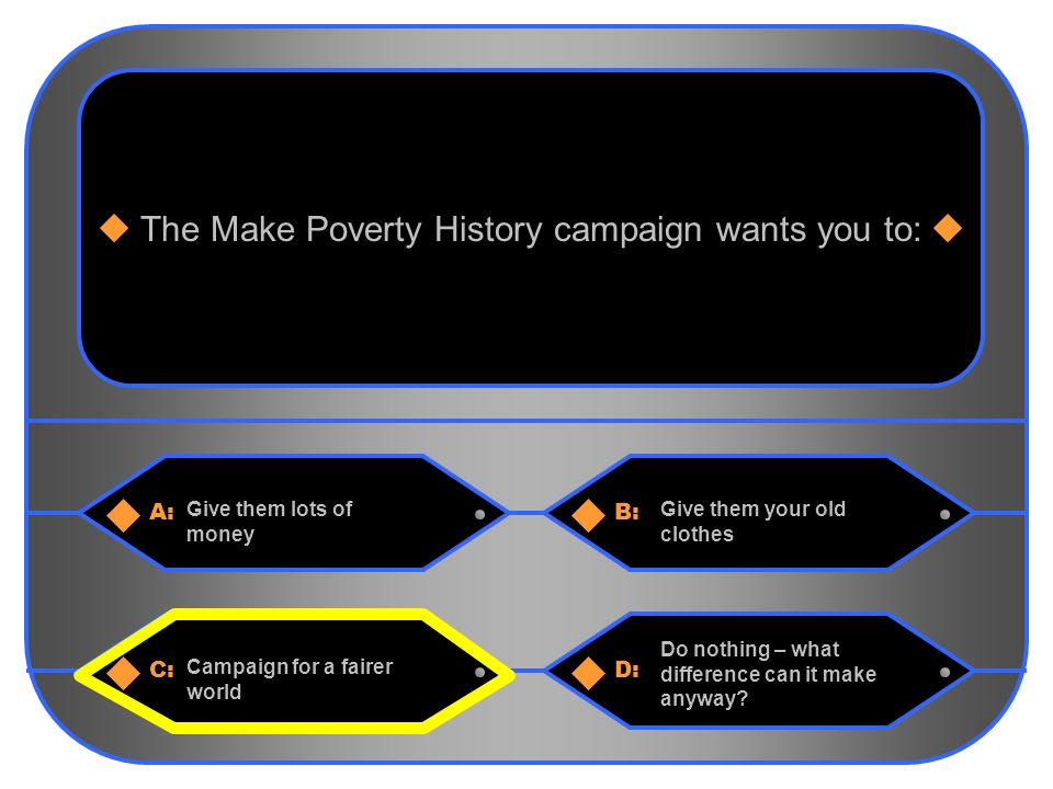 14 A:B: Give them lots of money Give them your old clothes The Make Poverty History campaign wants you to: C:D: Campaign for a fairer world Do nothing – what difference can it make anyway