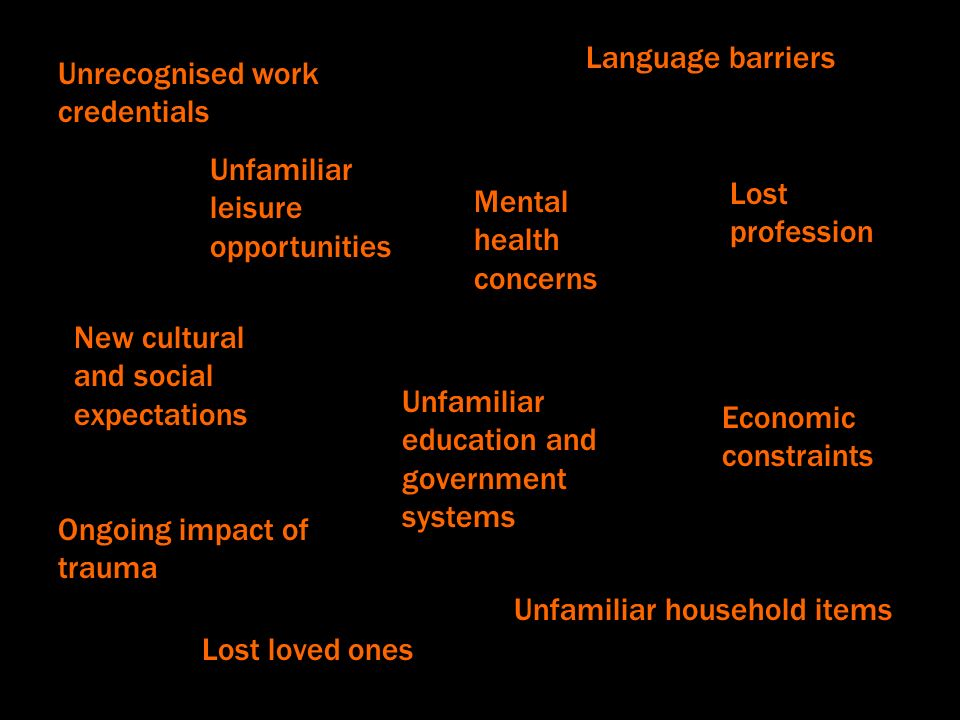 Language barriers Unfamiliar household items Unfamiliar education and government systems Unrecognised work credentials Mental health concerns Ongoing impact of trauma New cultural and social expectations Lost profession Economic constraints Unfamiliar leisure opportunities Lost loved ones