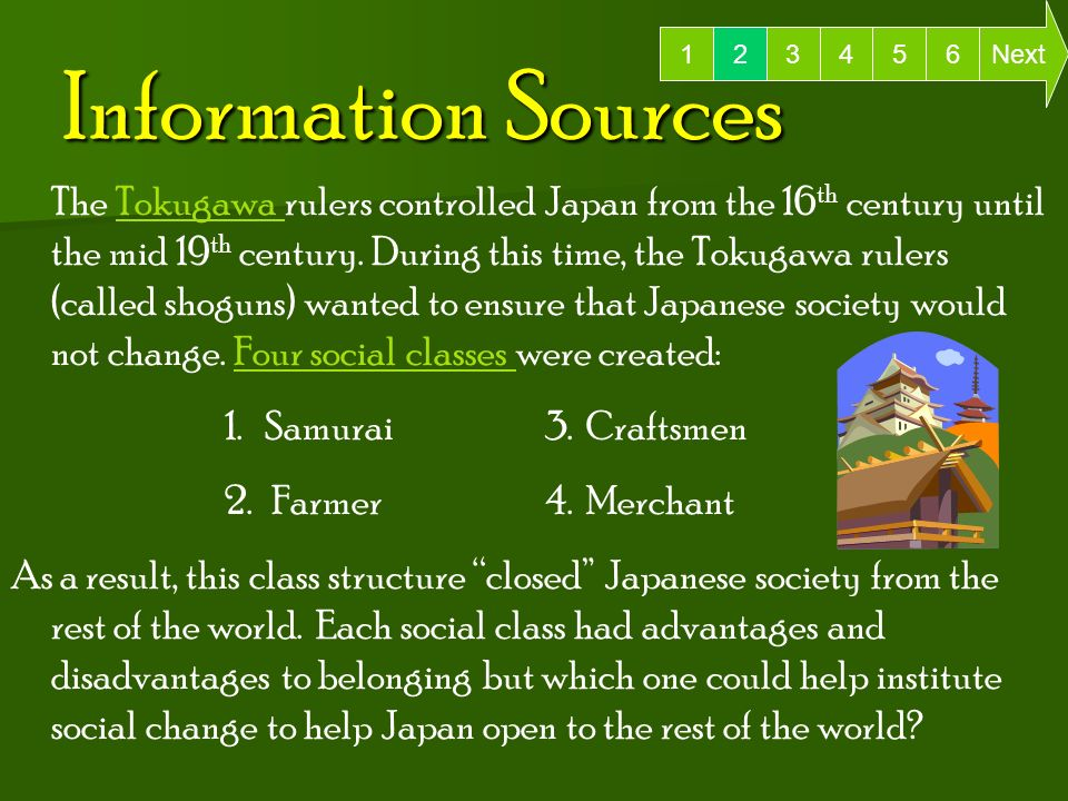 Information Sources 6 Next The Tokugawa rulers controlled Japan from the 16 th century until the mid 19 th century.