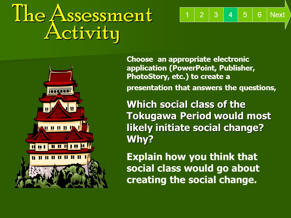 The Assessment Activity 6 Next Choose an appropriate electronic application (PowerPoint, Publisher, PhotoStory, etc.) to create a presentation that answers the questions, Which social class of the Tokugawa Period would most likely initiate social change.