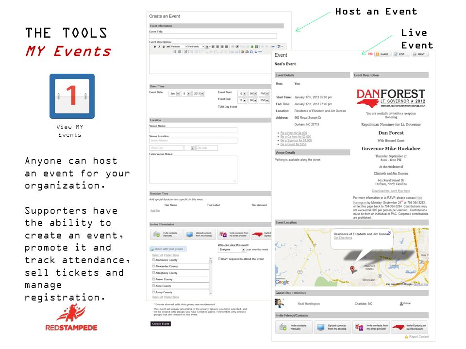THE TOOLS MY Events Anyone can host an event for your organization.