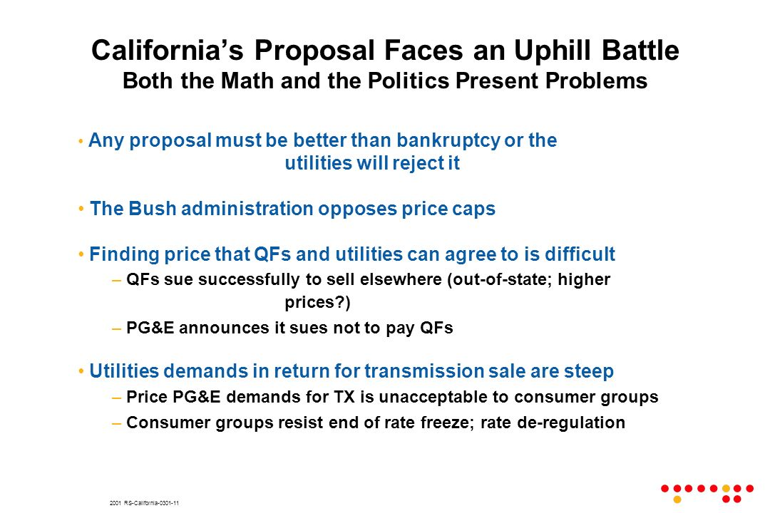 2001 RS-California Any proposal must be better than bankruptcy or the utilities will reject it The Bush administration opposes price caps Finding price that QFs and utilities can agree to is difficult – QFs sue successfully to sell elsewhere (out-of-state; higher prices ) – PG&E announces it sues not to pay QFs Utilities demands in return for transmission sale are steep – Price PG&E demands for TX is unacceptable to consumer groups – Consumer groups resist end of rate freeze; rate de-regulation Californias Proposal Faces an Uphill Battle Both the Math and the Politics Present Problems