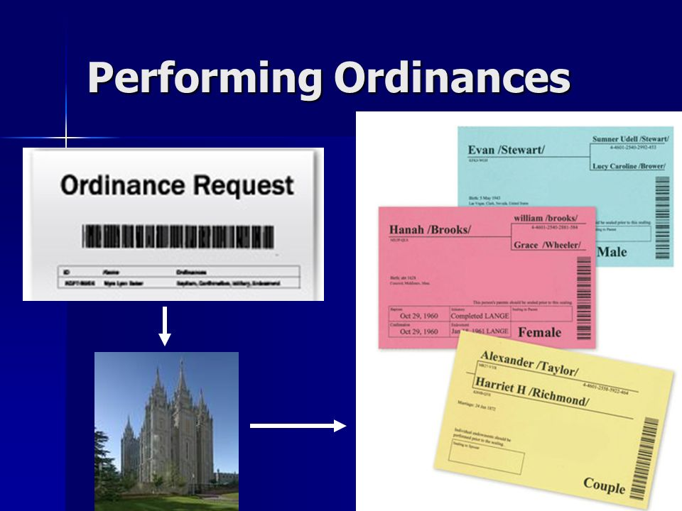 Performing Ordinances
