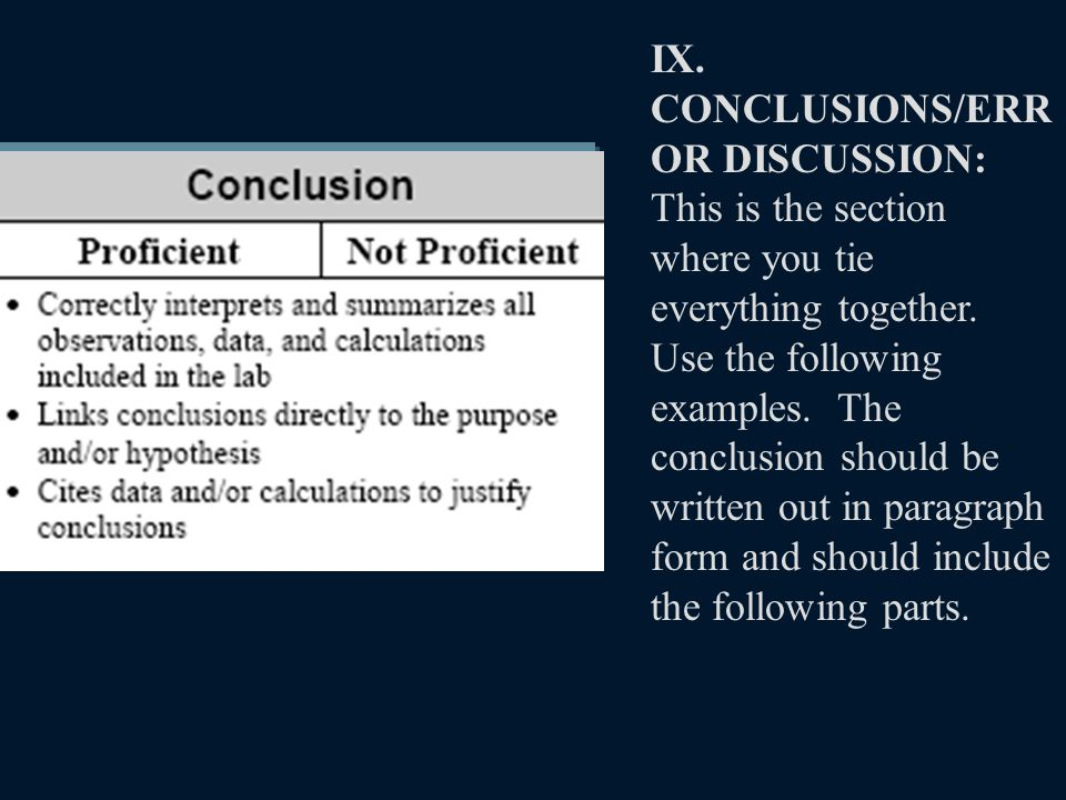 IX. CONCLUSIONS/ERR OR DISCUSSION: This is the section where you tie everything together.