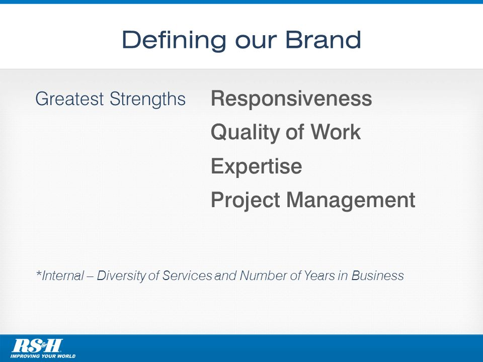 Defining our Brand Greatest Strengths *Internal – Diversity of Services and Number of Years in Business Responsiveness Quality of Work Expertise Project Management