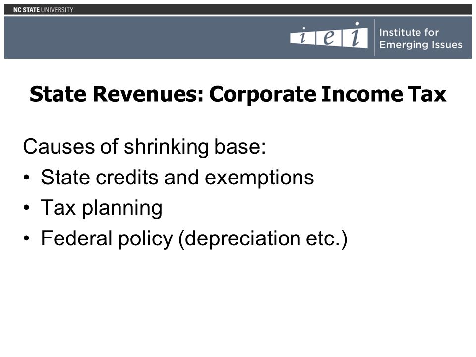 Causes of shrinking base: State credits and exemptions Tax planning Federal policy (depreciation etc.)