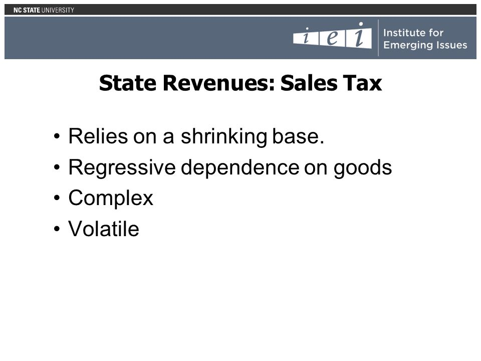 State Revenues: Sales Tax Relies on a shrinking base.