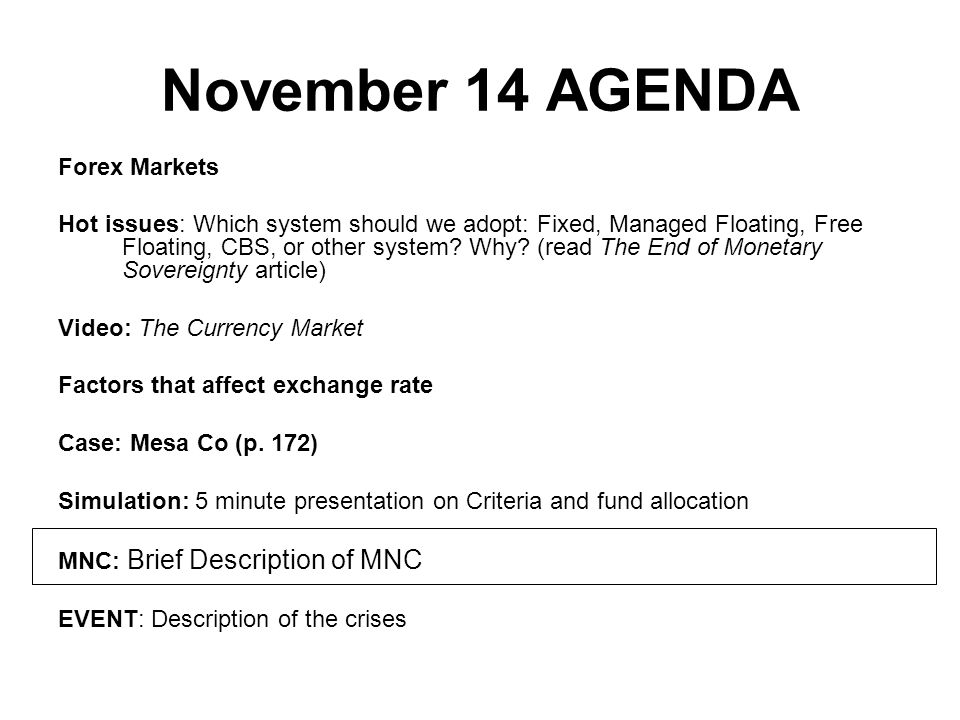 November 14 AGENDA Forex Markets Hot issues: Which system should we adopt: Fixed, Managed Floating, Free Floating, CBS, or other system.