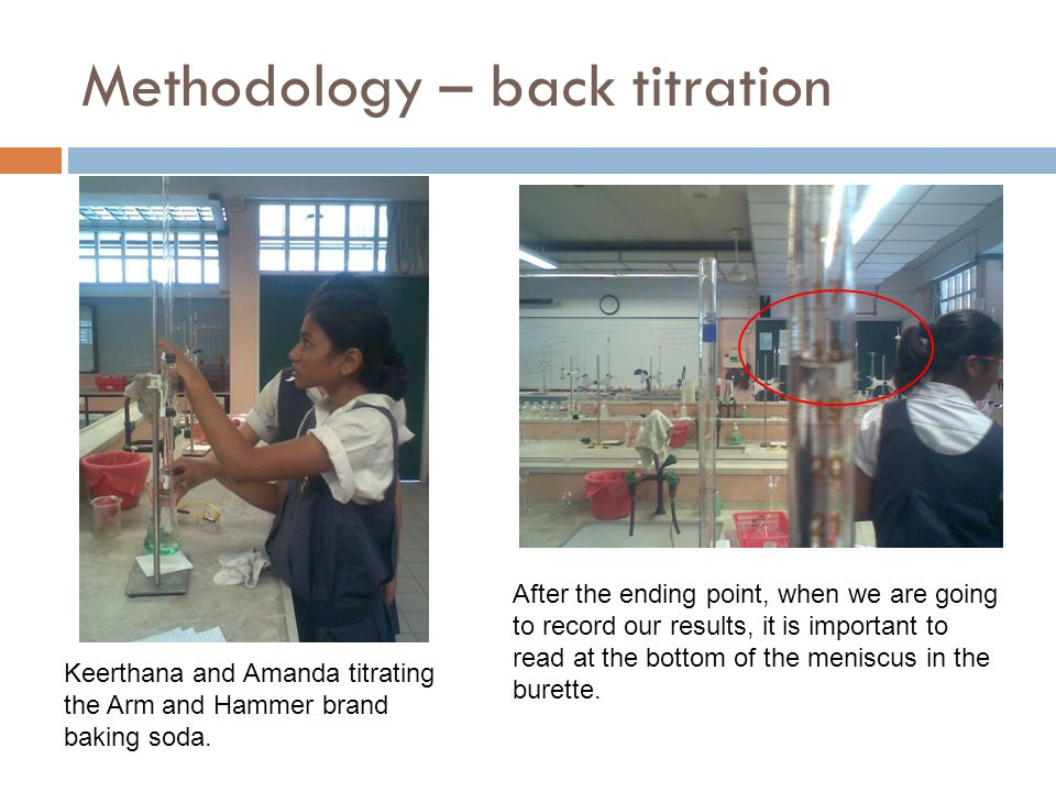 Methodology – back titration Keerthana and Amanda titrating the Arm and Hammer brand baking soda.