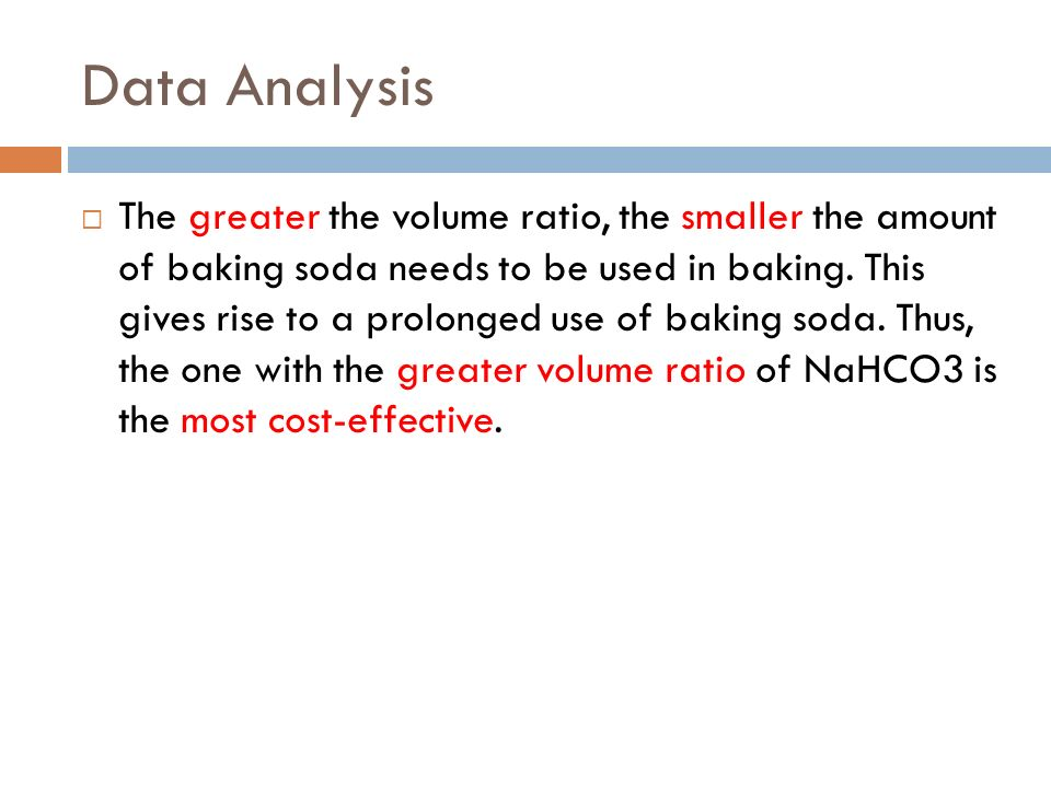 Data Analysis The greater the volume ratio, the smaller the amount of baking soda needs to be used in baking.