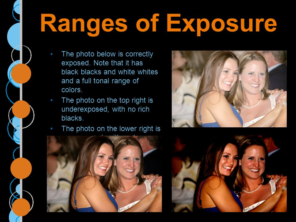 Ranges of Exposure The photo below is correctly exposed.