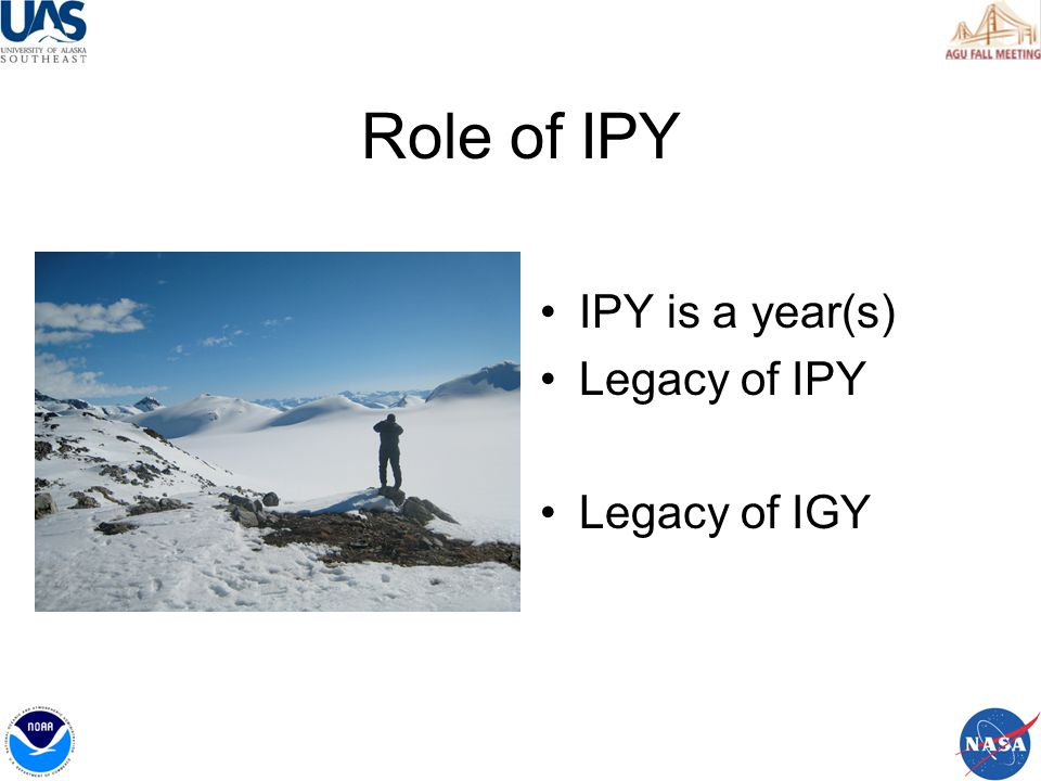 Role of IPY IPY is a year(s) Legacy of IPY Legacy of IGY