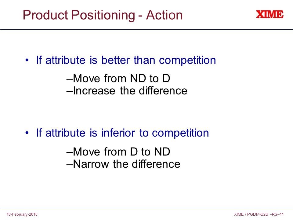 XIME / PGDM-B2B –RS–1118-February-2010 Product Positioning - Action If attribute is better than competition If attribute is inferior to competition –Move from ND to D –Increase the difference –Move from D to ND –Narrow the difference