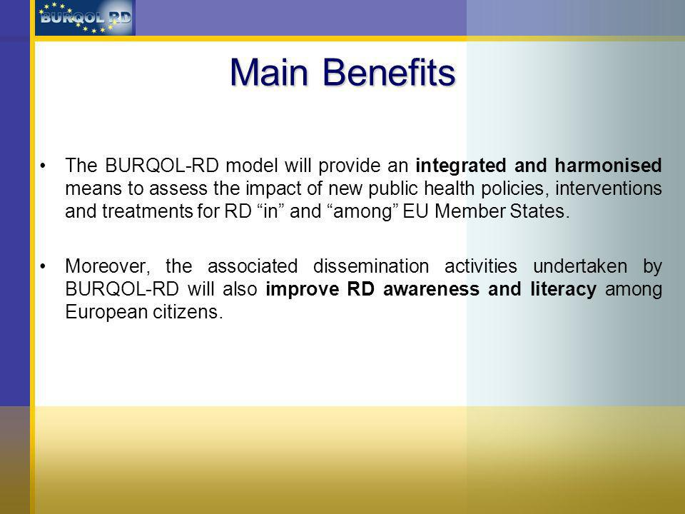 Main Benefits The BURQOL-RD model will provide an integrated and harmonised means to assess the impact of new public health policies, interventions and treatments for RD in and among EU Member States.