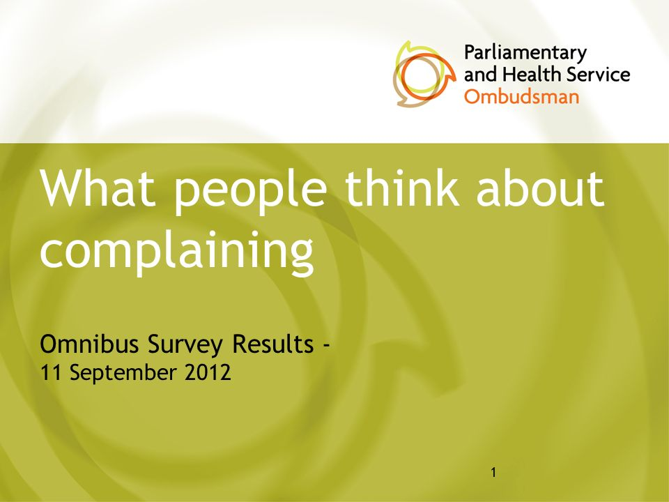 1 What people think about complaining Omnibus Survey Results - 11 September 2012