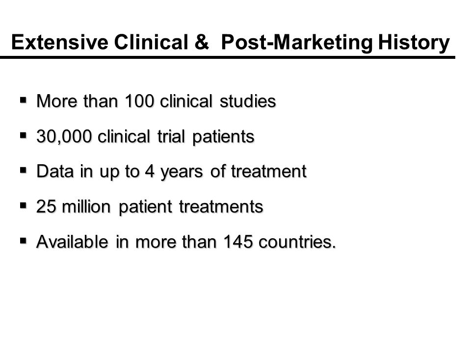 Extensive Clinical & Post-Marketing History More than 100 clinical studies More than 100 clinical studies 30,000 clinical trial patients 30,000 clinical trial patients Data in up to 4 years of treatment Data in up to 4 years of treatment 25 million patient treatments 25 million patient treatments Available in more than 145 countries.