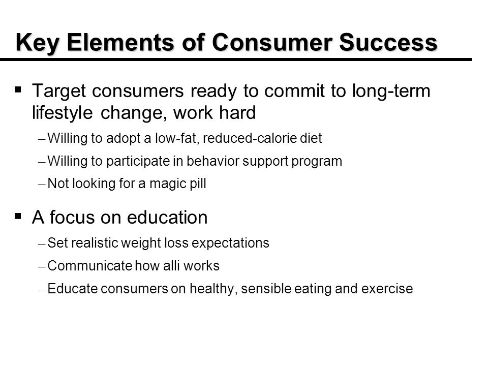 Key Elements of Consumer Success Target consumers ready to commit to long-term lifestyle change, work hard – – Willing to adopt a low-fat, reduced-calorie diet – – Willing to participate in behavior support program – – Not looking for a magic pill A focus on education – – Set realistic weight loss expectations – – Communicate how alli works – – Educate consumers on healthy, sensible eating and exercise
