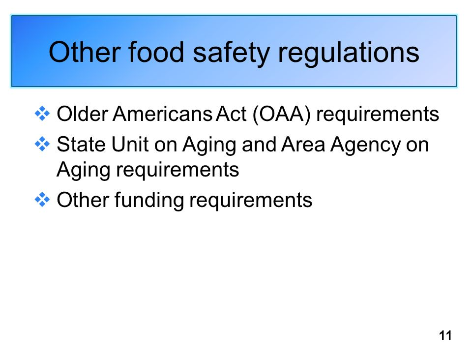 Other food safety regulations Older Americans Act (OAA) requirements State Unit on Aging and Area Agency on Aging requirements Other funding requirements 11