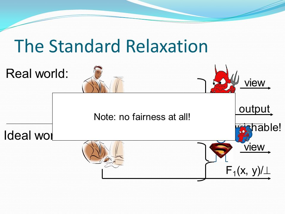 The Standard Relaxation Real world: Ideal world: view output Indistinguishable.