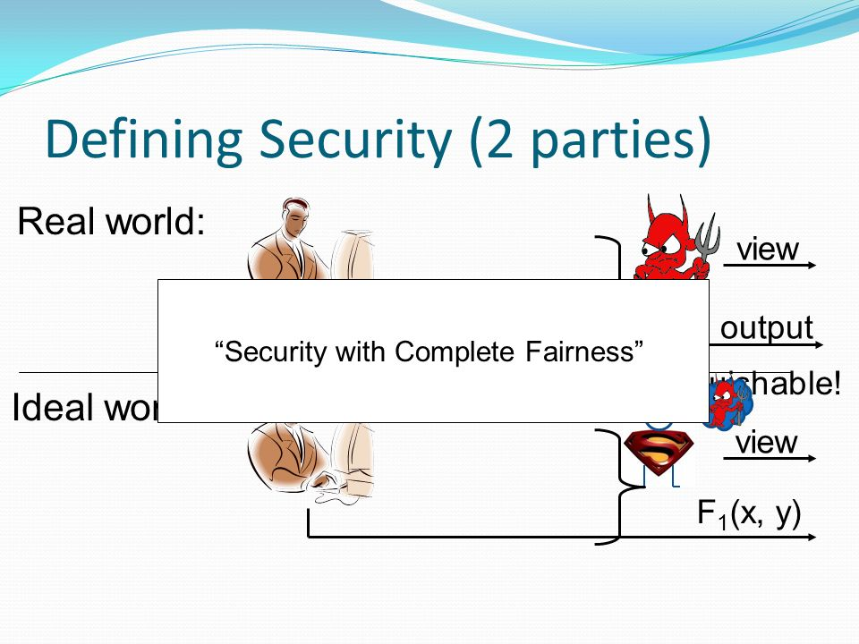 Defining Security (2 parties) Real world: Ideal world: view output Indistinguishable.