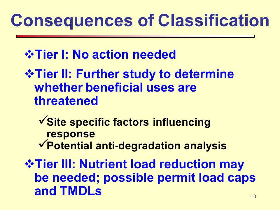 10 Consequences of Classification Tier I: No action needed Tier II: Further study to determine whether beneficial uses are threatened Site specific factors influencing response Potential anti-degradation analysis Tier III: Nutrient load reduction may be needed; possible permit load caps and TMDLs